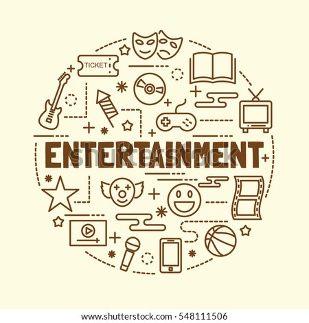 entertainment minimal thin line icons set, vector illustration design elements