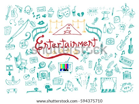 Entertainment or Performing Arts Doodle collection concept. Editable Clip Art.