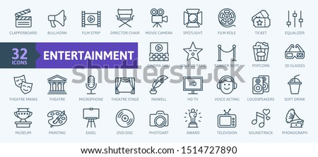 Entertainment - outline web icon collection, vector, thin line icons collection