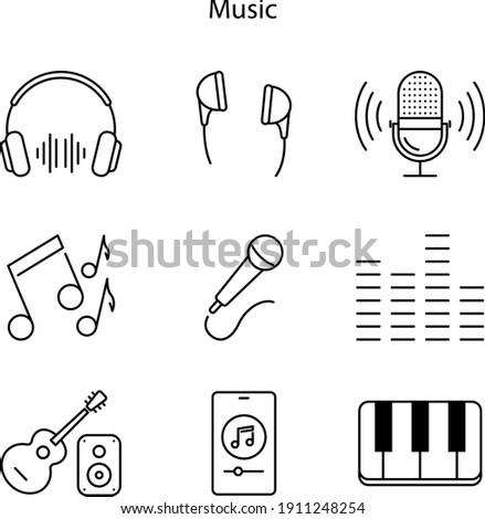 entertainment technology icons set, line icons set of music Foto d'archivio ©