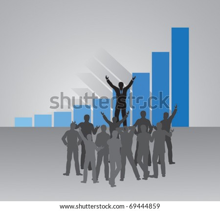 Enthusiasm in businessmen group