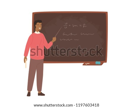 Enthusiastic African American male school teacher, college professor or lecturer standing beside chalkboard, holding pointer and explaining lesson. Colorful vector illustration in flat cartoon style.