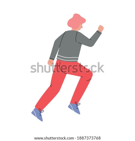 Enthusiastic Man Character Running in a Hurry and Hasten Somewhere Vector Illustration Сток-фото ©