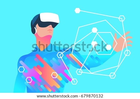 Enthusiastic man using virtual reality glasses and touching vr interface. Vector illustration