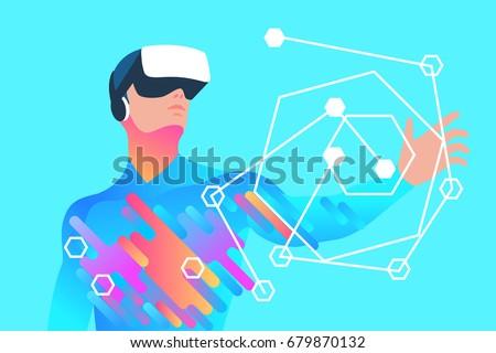 enthusiastic man using virtual