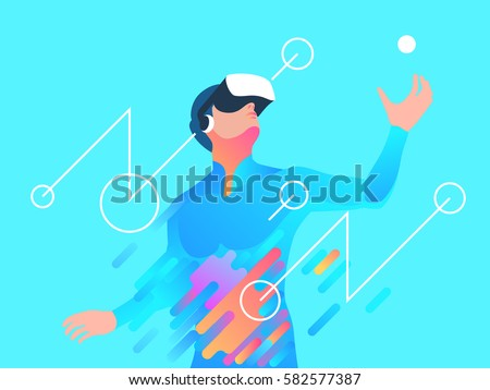 Enthusiastic man using virtual reality headset. Vector illustration