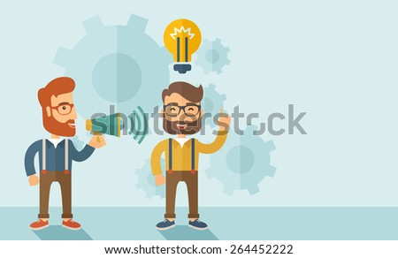 Enthusiastic young hipster Caucasian men with beard who have a good business idea. Man on the left is holding a megaphone and  man on the right has a brilliant plan for their business .Delivering a