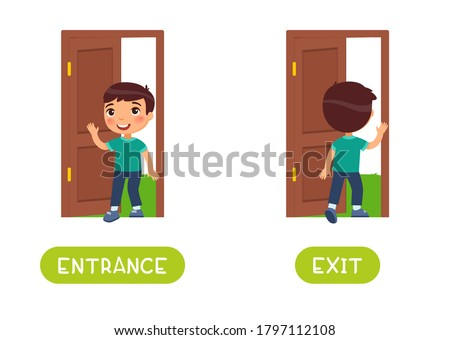 Entrance and exit word card vector template. Opposites concept. Flashcard for english language learning. Little boy walks in an open door, child walks out into the yard. Stockfoto ©