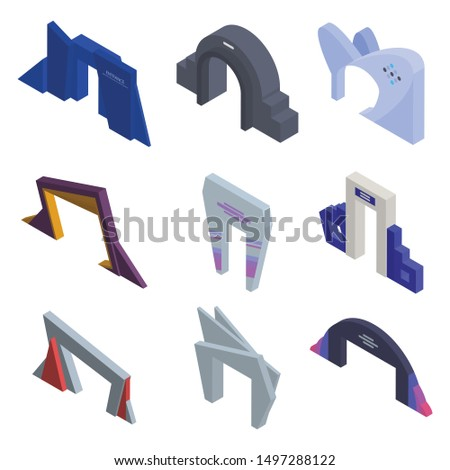 Entrance arch icons set. Isometric set of entrance arch vector icons for web design isolated on white background
