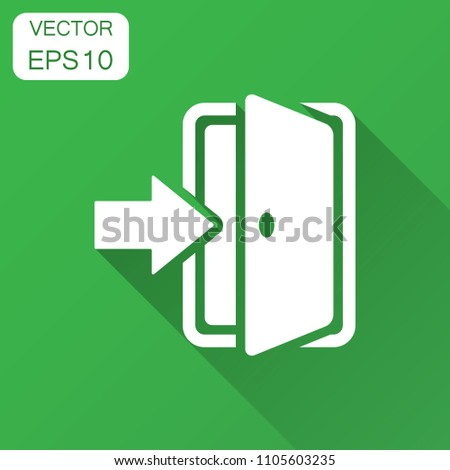 Entrance door in flat style. Exit doors illustration with long shadow. Doorway entrance concept.
