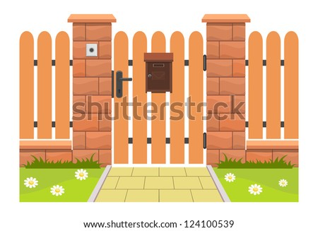 Entrance door with mailbox. Vector Illustration on the white background