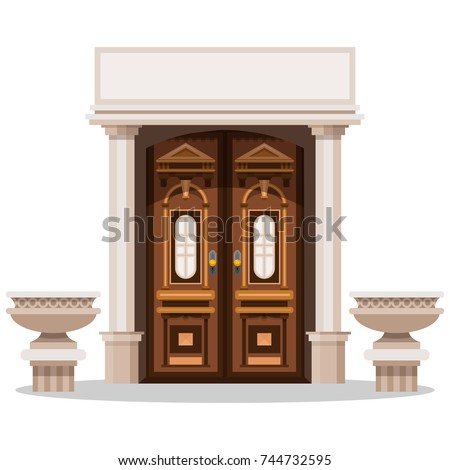 Entrance doors. Design of the facade of the building. Greek archecture.  Vector illustration isolated on white background.