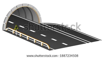 entrance to automobile tunnel with swith parking area and warning sign. Automobile bridge with arched tunnel in mountains. Vector
