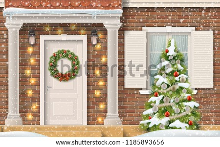 Entrance to the house, decorated with a garland and Christmas wreath and a Christmas tree in the front garden. Front view of a brick suburban house with columns. Realistic vector in 3d style.