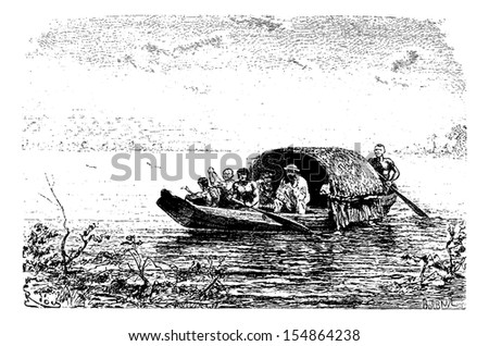 Entrance to the Yary River in Oiapoque, Brazil, drawing by Riou from a sketch by Dr. Crevaux, vintage engraved illustration. Le Tour du Monde, Travel Journal, 1880 Photo stock ©