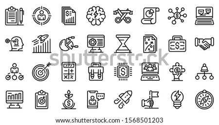 entrepreneur icons set outline