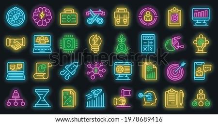 entrepreneur icons set outline