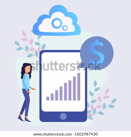 Entrepreneur's character design with vector illustrations in flat style, large people and mobile phones, Entrepreneurs learn to succeed, graphs that continue to climb ideas with strategic concepts.