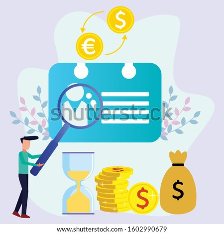 Entrepreneur's character design with vector illustrations in flat style, people and magnifying glass and business cards, Entrepreneurs learn to succeed, success with ideas with strategic concepts.