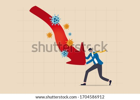 Entrepreneur small business owner fight to survive in COVID-19 crisis recession concept, calm businessman business owner fight pushing red arrow pointing down graph with Coronavirus COVID-19 pathogen.