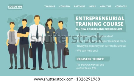 Entrepreneurial training course web site page. New education courses. Company business group people flat illustration. Place for text.