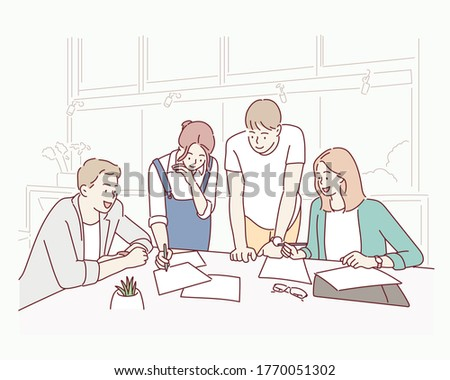 Entrepreneurs and business people conference in modern meeting room. Hand drawn style vector design illustrations.