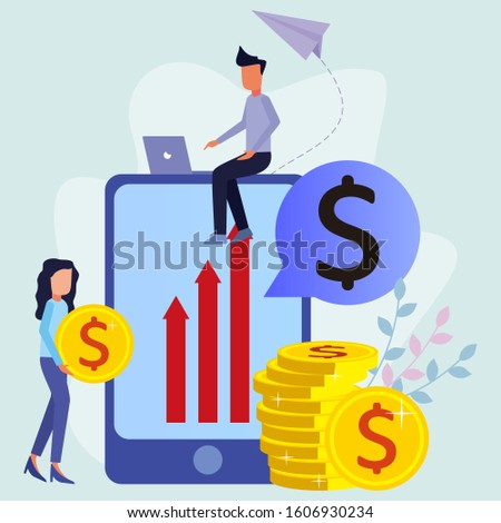 Entrepreneurs and women entrepreneurs stand and sit among large cellphones that represent the level of wages. Gender equality and good teamwork. Vector illustration.