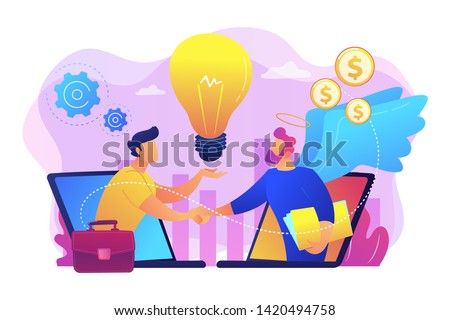 Entrepreneurship funding, initiative investment, idea financing. Angel investor, startup financial support, business professionals help concept. Bright vibrant violet vector isolated illustration