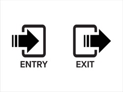 entry and exit sign, entry and exit door