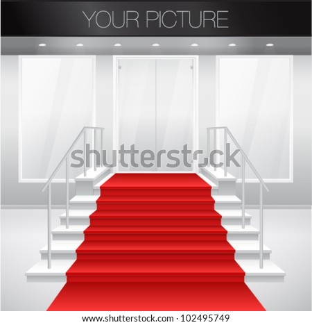 Entry to shop with stairs and red carpet. Vector illustration of entrance to building. Exterior of store in gray color