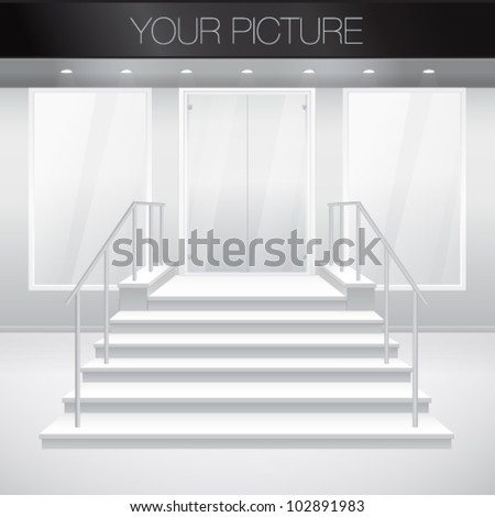Entry to shop with stairs. Vector illustration of entrance to building. Exterior of store in gray color