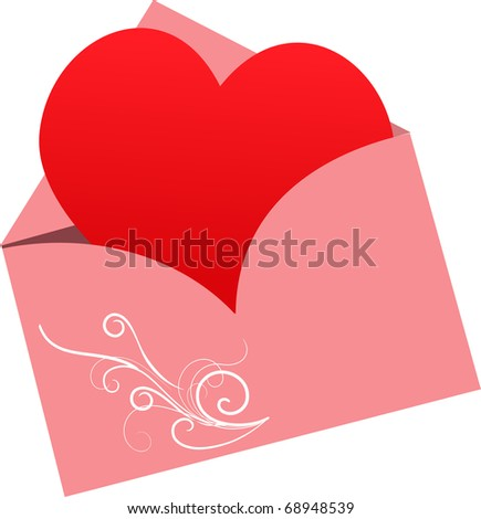 envelop with heart, valentine greeting card