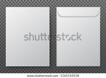 Envelope a4. Paper white blank letter envelopes for vertical document. Vector mockup isolated on transparent background. Envelope office mockup, paper letter mail illustration