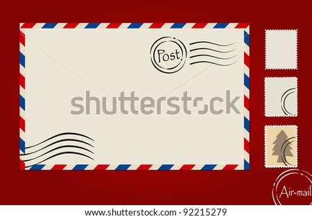 Envelope and stamp set. Vector Illustration.