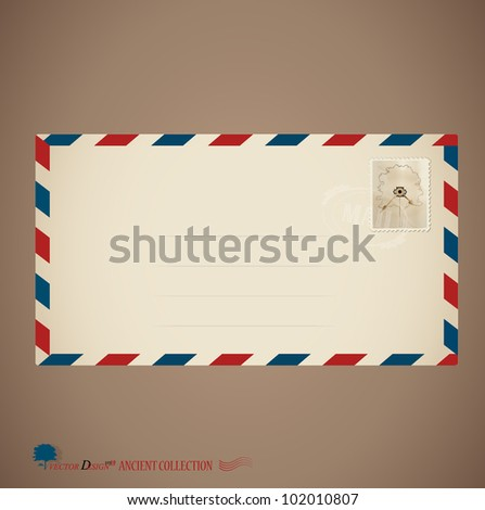 Envelope and stamp. Vector Illustration
