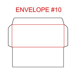 Envelope #10 die cut template of North American format regular, universal, wallet, booklet envelope sizes commercial, business, regular standard letterhead, invoices, checks, statement, direct mail
