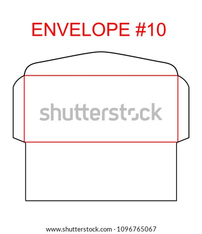 Envelope #10 die cut template of North American Format regular, universal, wallet, booklet envelope sizes commercial, business, regular standard to mail letterhead, invoices, checks, statement, direct