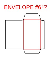 Envelope #6 1/2 die cut template of North American, USA Format regular, universal, wallet, booklet size commercial, business, regular standard mail letterhead, invoices, checks, statement, direct mail