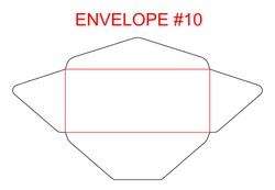 Envelope #10 die cut template of North American, USA Format regular, universal, wallet, booklet size commercial, business, regular standard mail letterhead, invoices, checks, statement, direct mail.