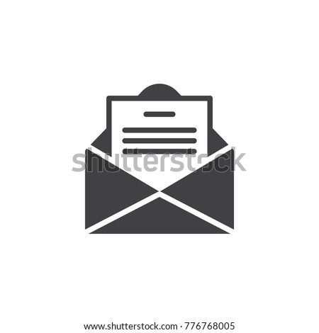 Envelope email with postcard card letter icon vector, filled flat sign, solid pictogram isolated on white. Open message symbol, logo illustration.