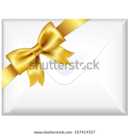 Envelope Face With Golden Bow, Isolated On White Background, Vector Illustration