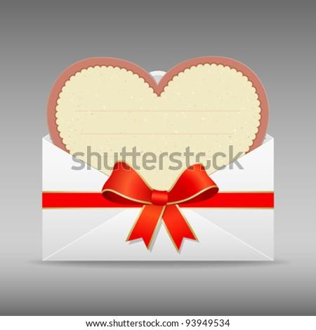 Envelope letter heart modern paper valentine's day vector illustration