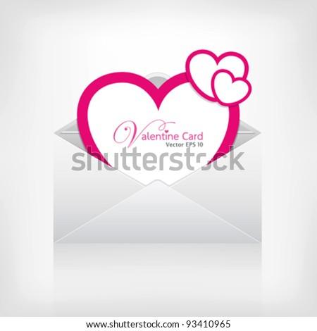 Envelope letter modern pink heart card valentine's day, vector illustration
