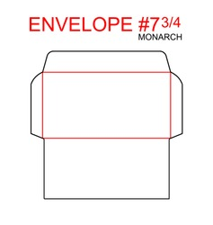 Envelope #7 3/4 monarch die cut template of North American Format regular, universal, wallet, booklet size commercial, business, regular standard mail letterhead, invoices, checks, statement, direct.