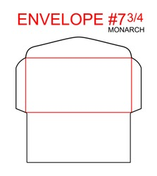 Envelope #7 3/4 monarch die cut template of North American Format regular, universal, wallet, booklet sizes commercial, business, regular standard mail letterhead, invoices, checks, statement, direct.