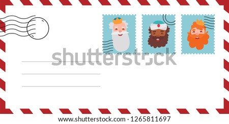 Envelope of letter of the wise men. The three kings of orient, Melchior, Gaspard and Balthazar. Funny vectorized letter.