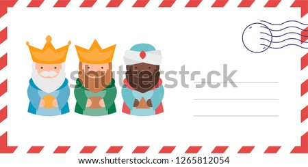Envelope of the wise men. The three kings of orient, Melchior, Gaspard and Balthazar. Funny vectorized letter.