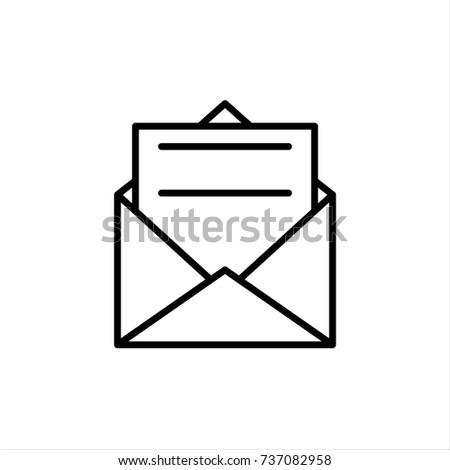 Envelope outline icon, letter, mail, email, message, vector illustration.
