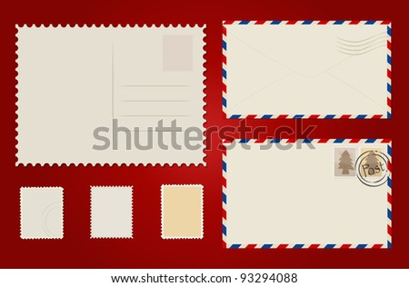 Envelope, stamp set and postcard. Vector Illustration.