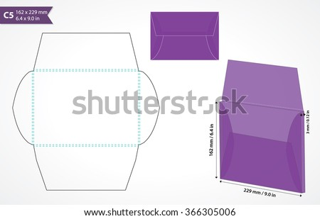 Envelope template for cutting machine. Standard c5 size box-envelope template for wedding or business stationery.